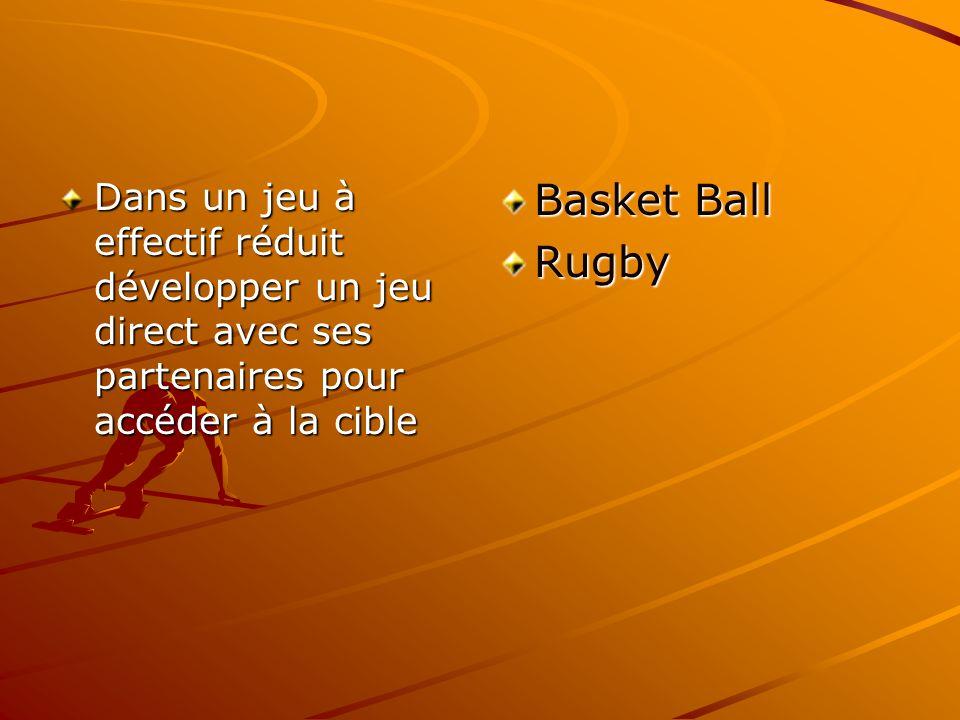 Dans un jeu à effectif réduit développer un jeu direct avec ses partenaires pour accéder à la cible Basket Ball Rugby