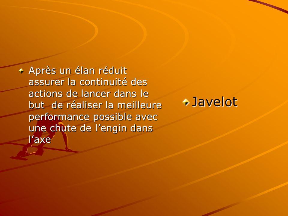 Après un élan réduit assurer la continuité des actions de lancer dans le but de réaliser la meilleure performance possible avec une chute de lengin dans laxe Javelot