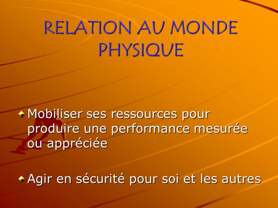 RELATION AU MONDE PHYSIQUE Mobiliser ses ressources pour produire une performance mesurée ou appréciée Agir en sécurité pour soi et les autres
