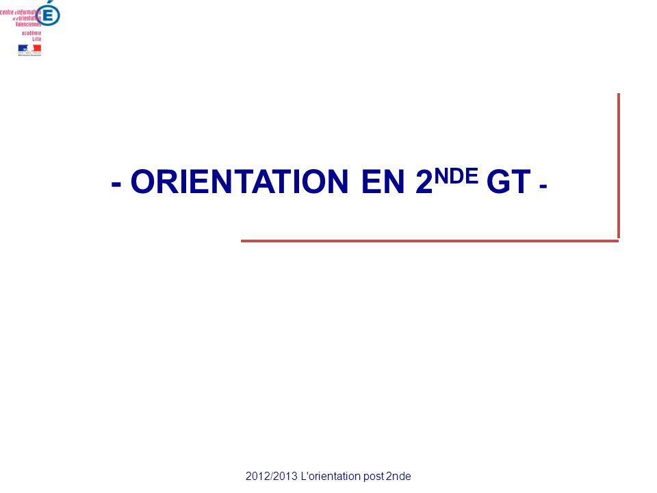 - ORIENTATION EN 2 NDE GT - 2012/2013 L'orientation post 2nde