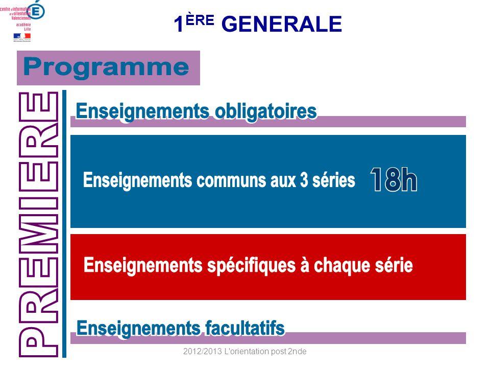 1 ÈRE GENERALE 2012/2013 L'orientation post 2nde