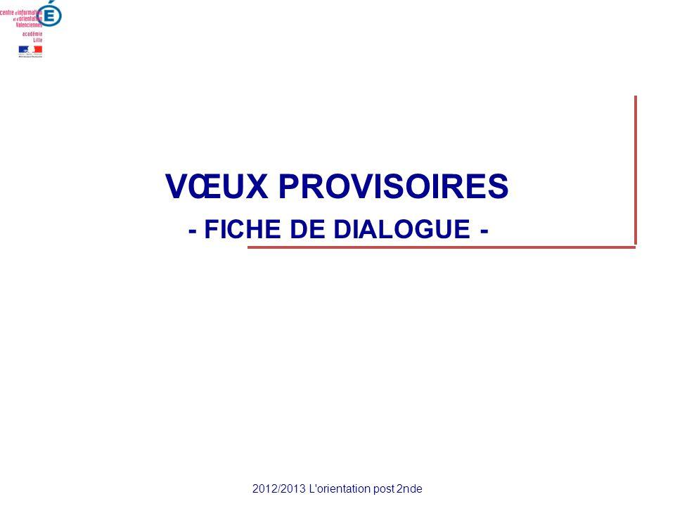 VŒUX PROVISOIRES - FICHE DE DIALOGUE - 2012/2013 L'orientation post 2nde