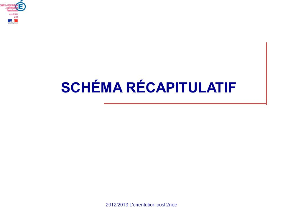 SCHÉMA RÉCAPITULATIF 2012/2013 L'orientation post 2nde