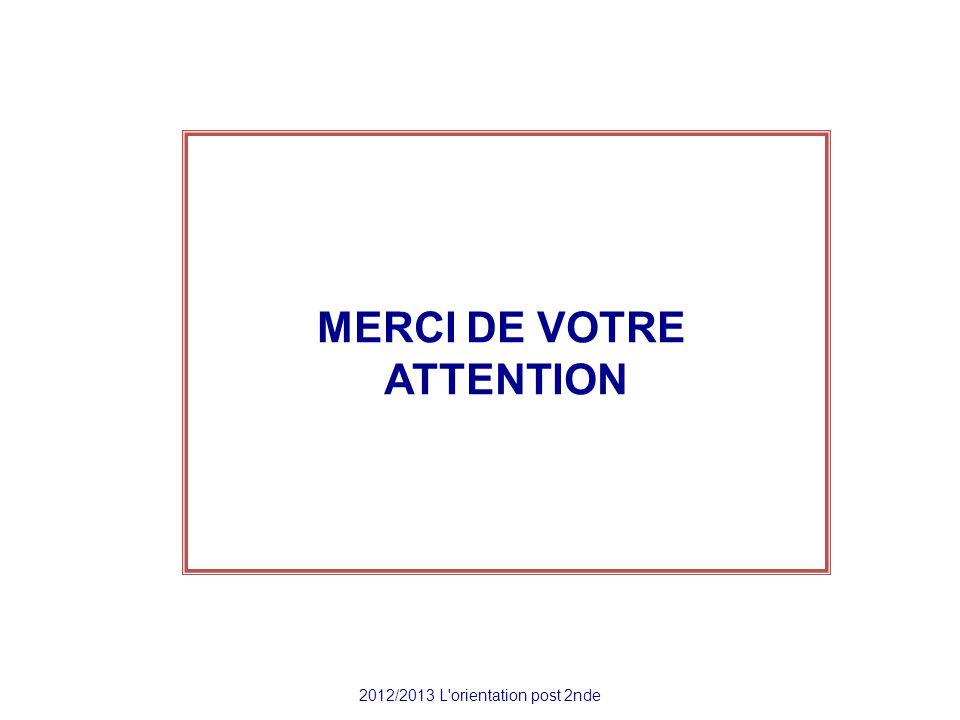 MERCI DE VOTRE ATTENTION 2012/2013 L'orientation post 2nde
