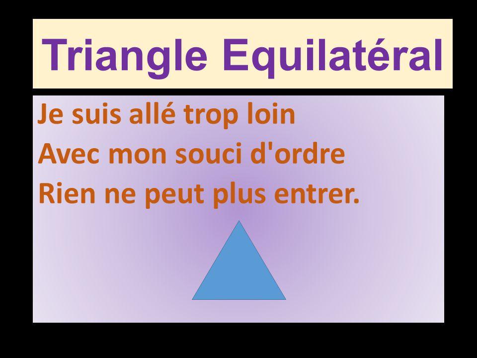 Triangle Equilatéral Je suis allé trop loin Avec mon souci d'ordre Rien ne peut plus entrer.