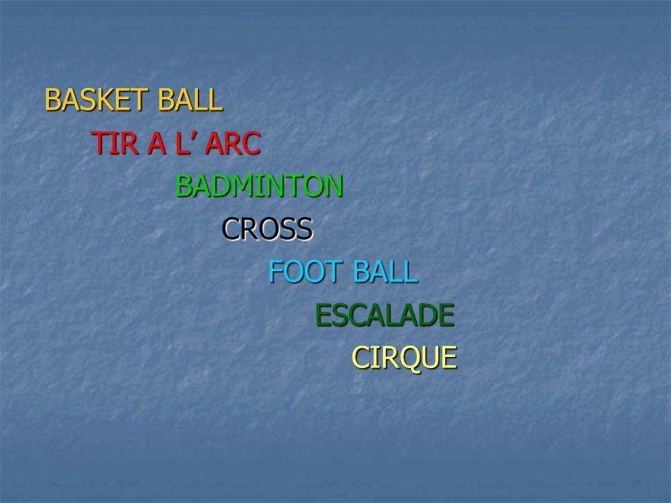 BASKET BALL TIR A L ARC BADMINTON CROSS FOOT BALL ESCALADE CIRQUE