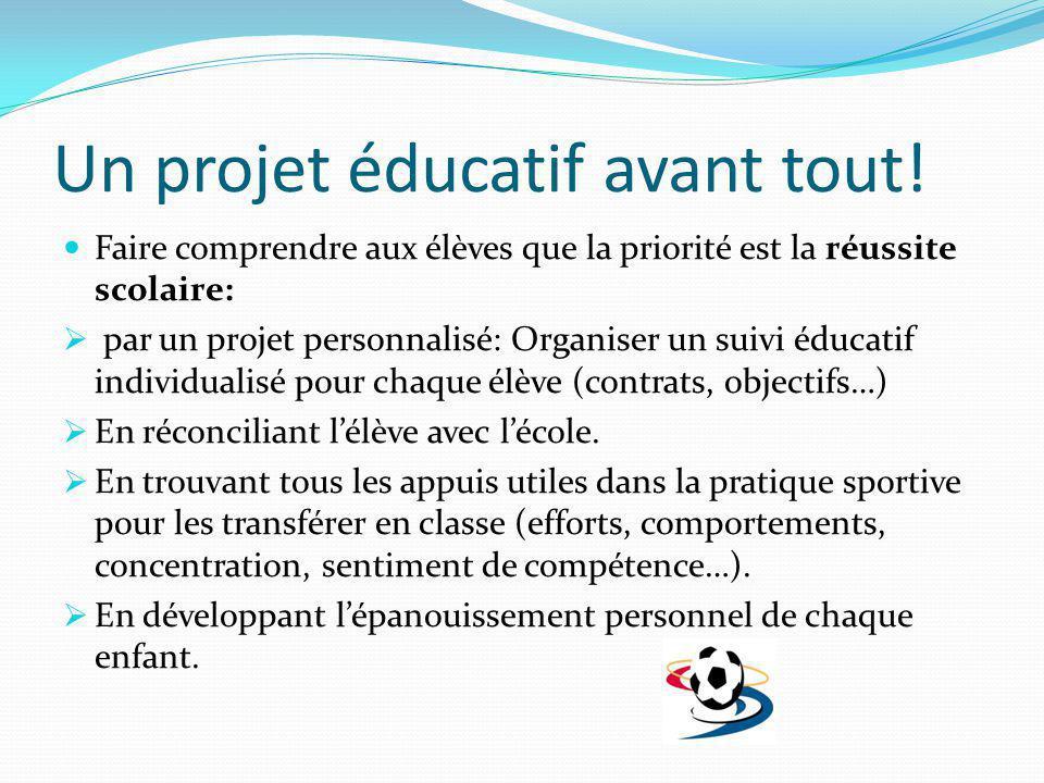 Un projet éducatif avant tout! Faire comprendre aux élèves que la priorité est la réussite scolaire: par un projet personnalisé: Organiser un suivi éd