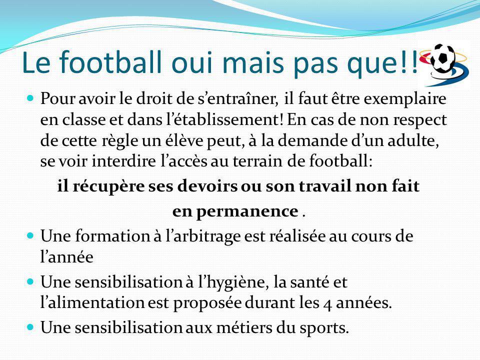 Le football oui mais pas que!!! Pour avoir le droit de sentraîner, il faut être exemplaire en classe et dans létablissement! En cas de non respect de