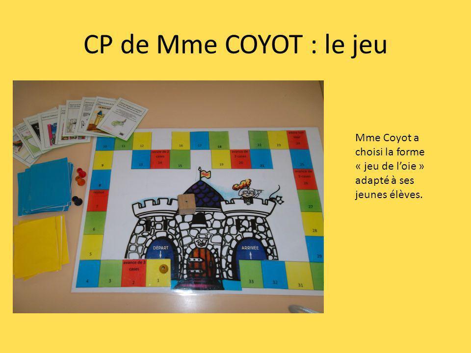 CP de Mme COYOT : le jeu Mme Coyot a choisi la forme « jeu de loie » adapté à ses jeunes élèves.