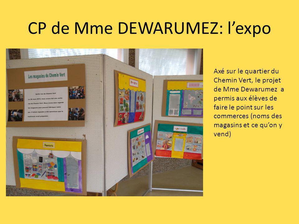 CP de Mme DEWARUMEZ: lexpo Axé sur le quartier du Chemin Vert, le projet de Mme Dewarumez a permis aux élèves de faire le point sur les commerces (noms des magasins et ce quon y vend)