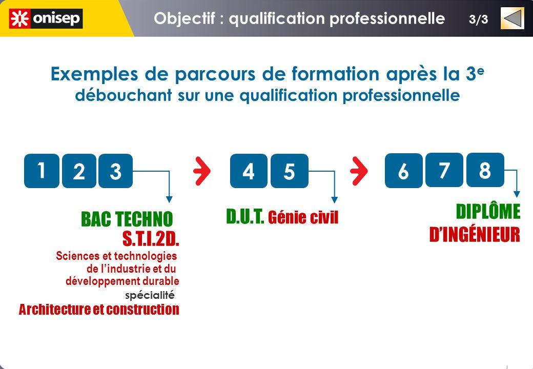 3/3 Exemples de parcours de formation après la 3 e débouchant sur une qualification professionnelle o 1 2345 o D.U.T. Génie civil 78 o DIPLÔME DINGÉNI