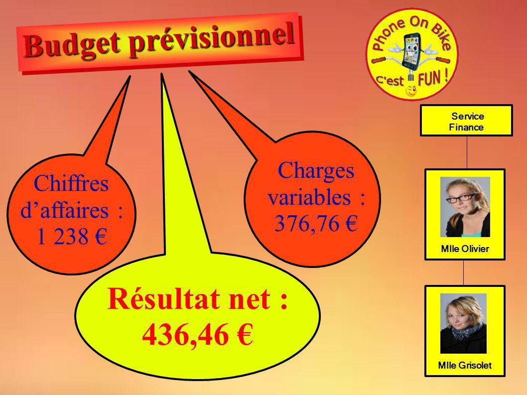 Service Finance Mlle Olivier Mlle Grisolet Chiffres daffaires : 1 238 Résultat net : 436,46 Charges variables : 376,76 Budget prévisionnel