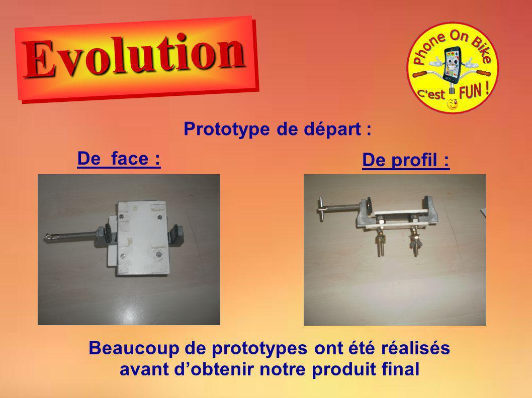 Prototype de départ : De face : De profil : Beaucoup de prototypes ont été réalisés avant dobtenir notre produit final EvolutionEvolution