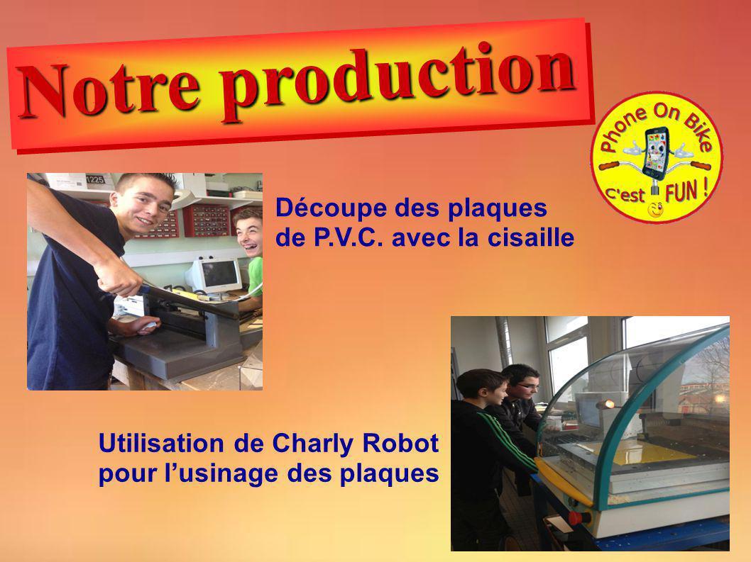 Utilisation de Charly Robot pour lusinage des plaques Découpe des plaques de P.V.C. avec la cisaille Notre production