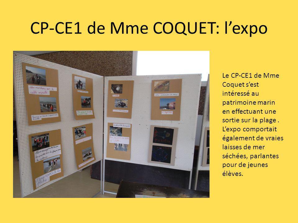 CP-CE1 de Mme COQUET: lexpo Le CP-CE1 de Mme Coquet sest intéressé au patrimoine marin en effectuant une sortie sur la plage. Lexpo comportait égaleme