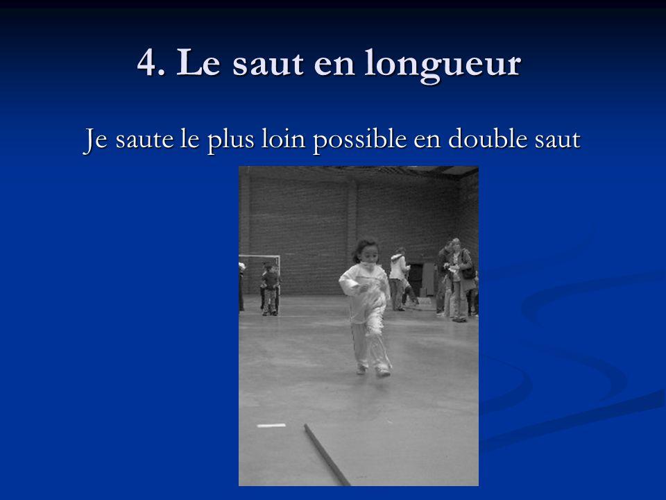 4. Le saut en longueur 4. Le saut en longueur Je saute le plus loin possible en double saut