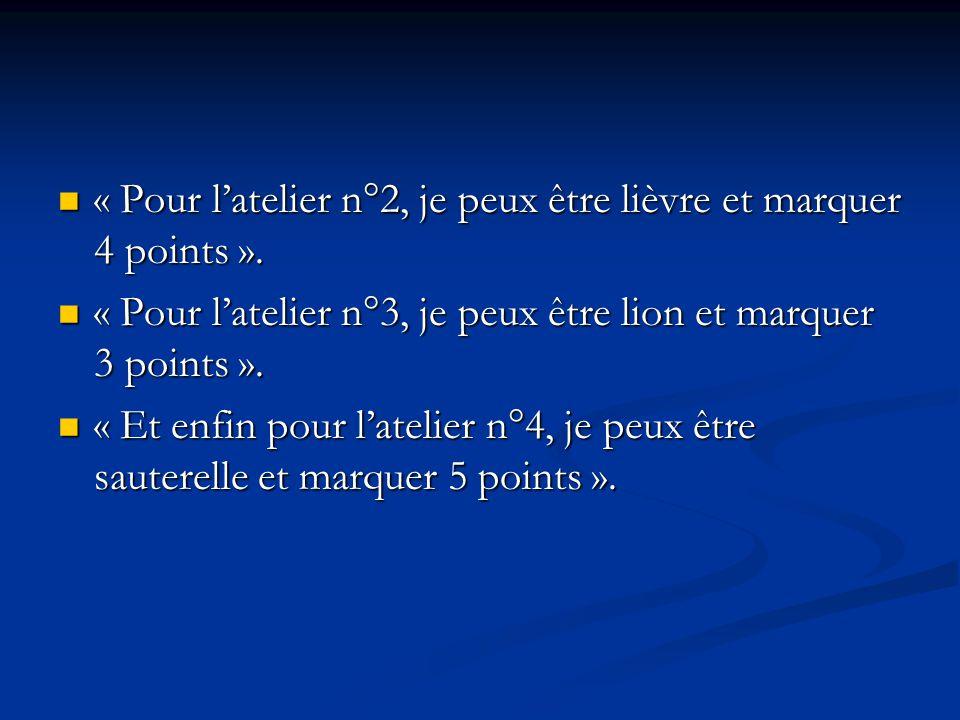 « Pour latelier n°2, je peux être lièvre et marquer 4 points ». « Pour latelier n°2, je peux être lièvre et marquer 4 points ». « Pour latelier n°3, j