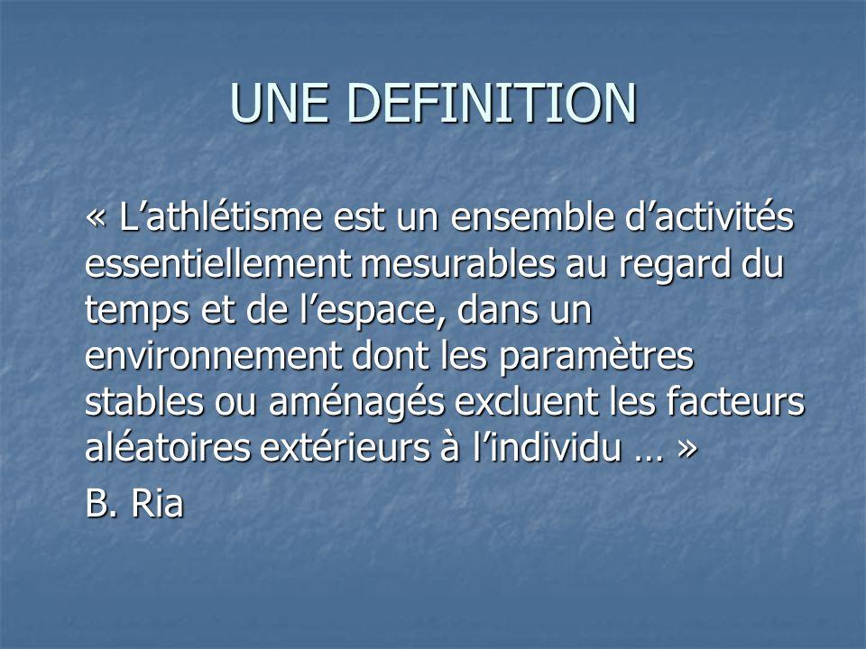 UNE DEFINITION « Lathlétisme est un ensemble dactivités essentiellement mesurables au regard du temps et de lespace, dans un environnement dont les pa