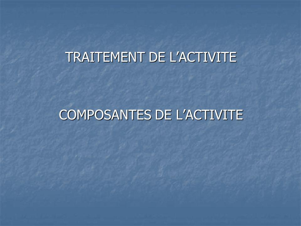TRAITEMENT DE LACTIVITE COMPOSANTES DE LACTIVITE