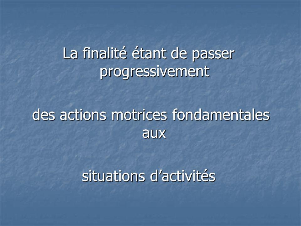 La finalité étant de passer progressivement des actions motrices fondamentales aux des actions motrices fondamentales aux situations dactivités
