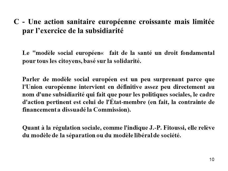 10 C - Une action sanitaire européenne croissante mais limitée par lexercice de la subsidiarité Le