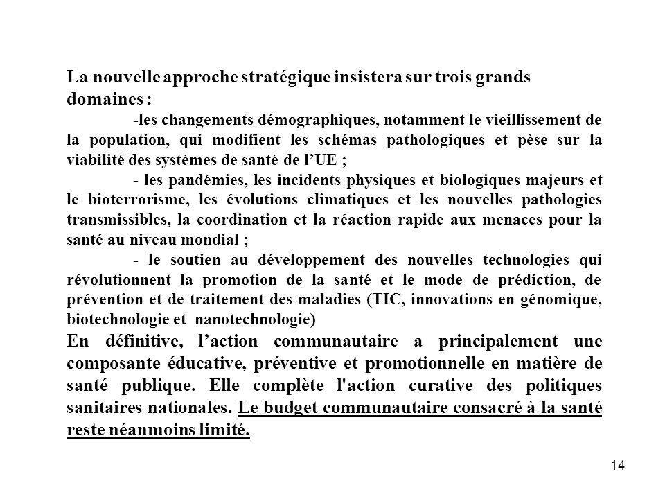 14 La nouvelle approche stratégique insistera sur trois grands domaines : -les changements démographiques, notamment le vieillissement de la populatio