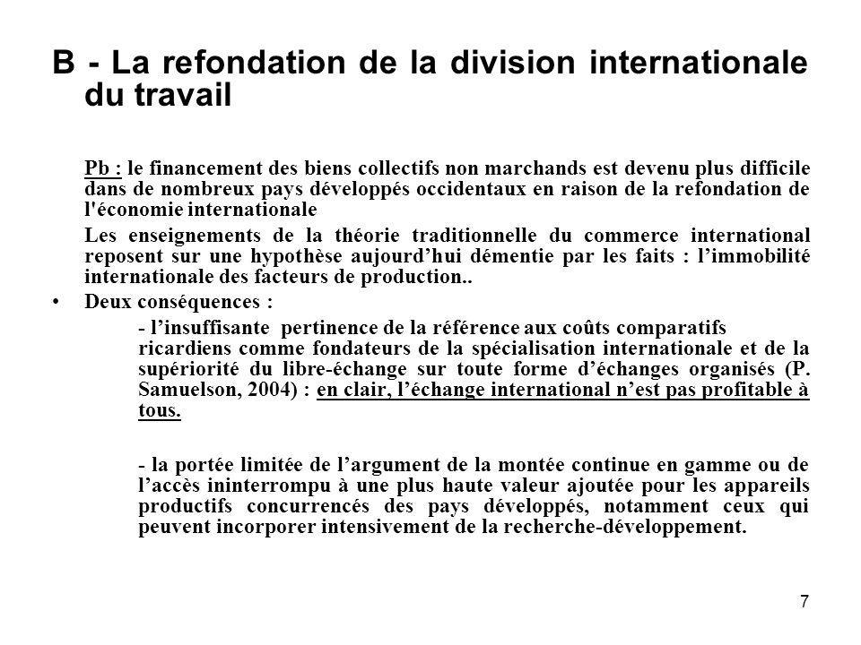 7 B - La refondation de la division internationale du travail Pb : le financement des biens collectifs non marchands est devenu plus difficile dans de