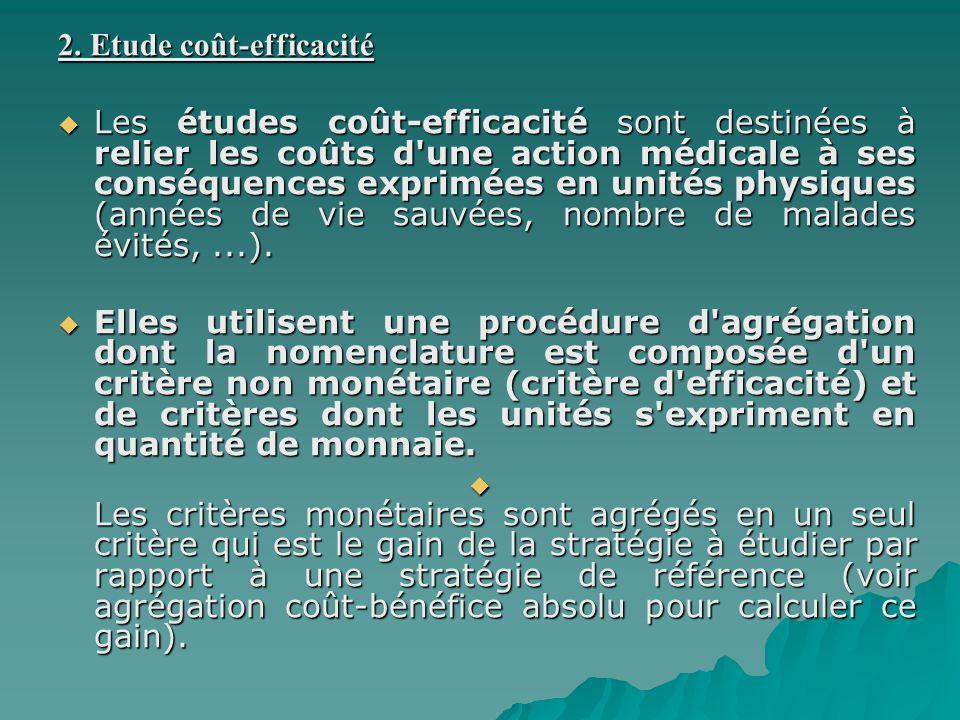 2. Etude coût-efficacité Les études coût-efficacité sont destinées à relier les coûts d'une action médicale à ses conséquences exprimées en unités phy
