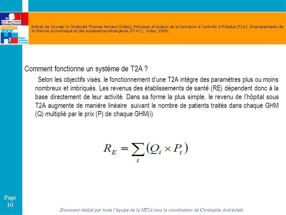 Document réalisé par toute léquipe de la MT2A sous la coordination de Christophe Andréoletti Page 10 Extrait de Zeynep Or (Irdes)et Thomas Renaud (Ird