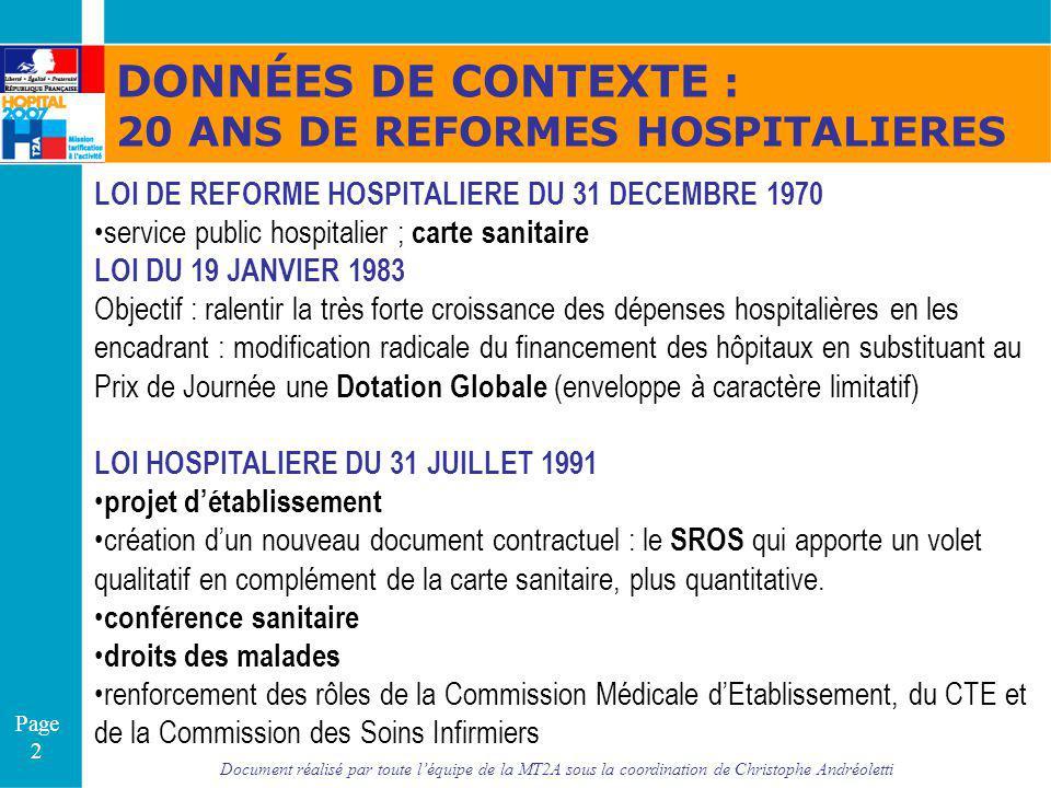 Document réalisé par toute léquipe de la MT2A sous la coordination de Christophe Andréoletti Page 2 DONNÉES DE CONTEXTE : 20 ANS DE REFORMES HOSPITALI