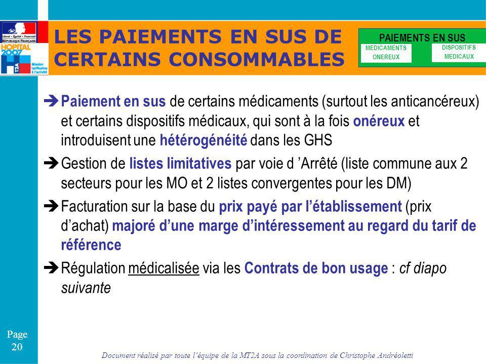 Document réalisé par toute léquipe de la MT2A sous la coordination de Christophe Andréoletti Page 20 LES PAIEMENTS EN SUS DE CERTAINS CONSOMMABLES PAI