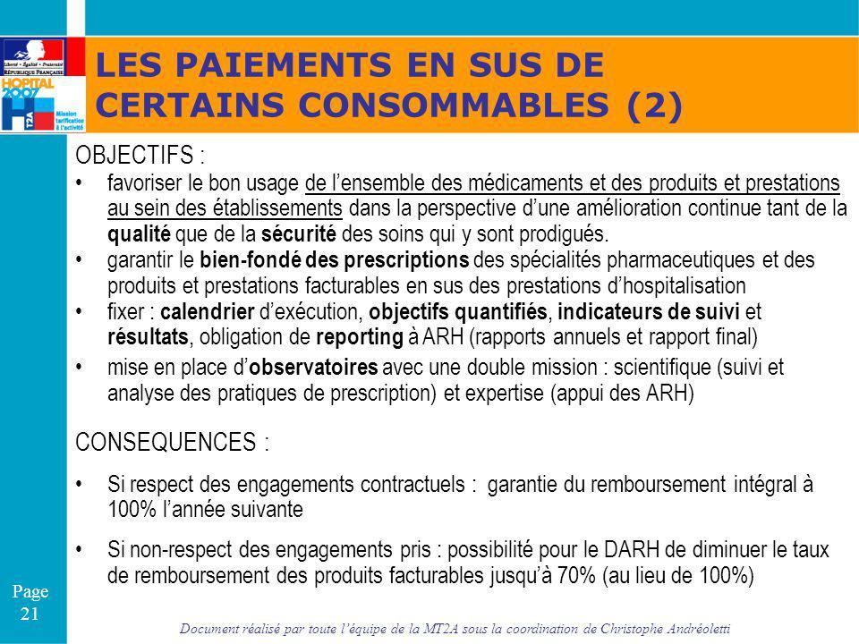 Document réalisé par toute léquipe de la MT2A sous la coordination de Christophe Andréoletti Page 21 LES PAIEMENTS EN SUS DE CERTAINS CONSOMMABLES (2)
