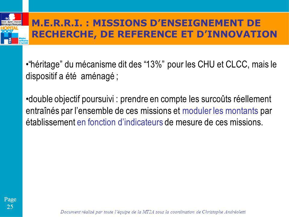 Document réalisé par toute léquipe de la MT2A sous la coordination de Christophe Andréoletti Page 25 M.E.R.R.I. : MISSIONS DENSEIGNEMENT DE RECHERCHE,