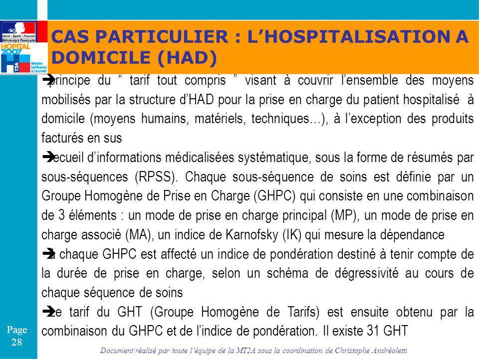 Document réalisé par toute léquipe de la MT2A sous la coordination de Christophe Andréoletti Page 28 CAS PARTICULIER : LHOSPITALISATION A DOMICILE (HA
