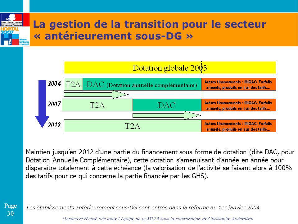 Document réalisé par toute léquipe de la MT2A sous la coordination de Christophe Andréoletti Page 30 Les établissements antérieurement sous-DG sont en