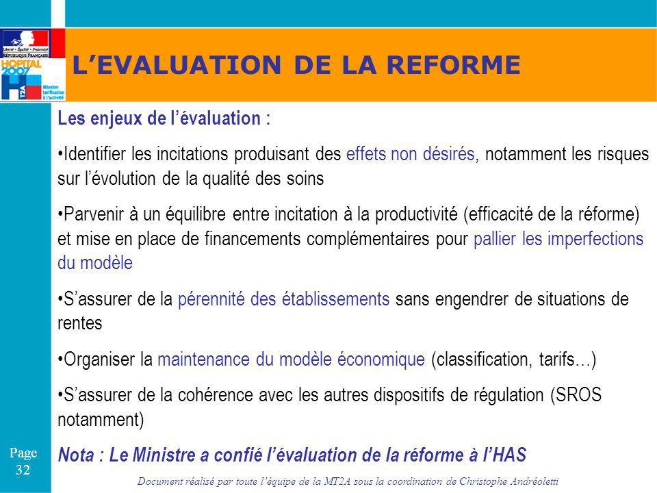 Document réalisé par toute léquipe de la MT2A sous la coordination de Christophe Andréoletti Page 32 LEVALUATION DE LA REFORME Les enjeux de lévaluati