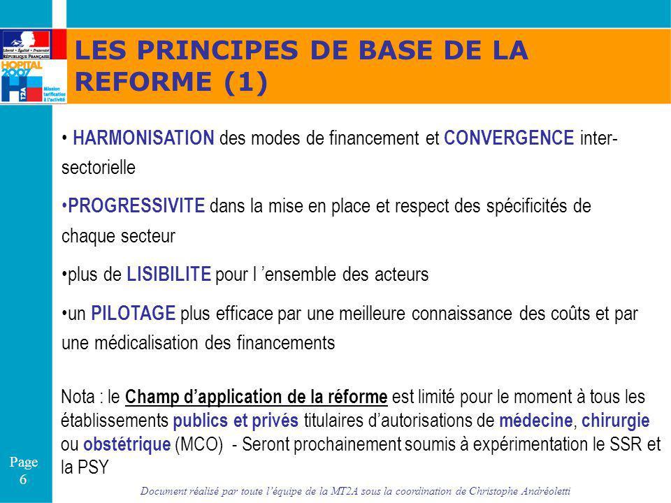 Document réalisé par toute léquipe de la MT2A sous la coordination de Christophe Andréoletti Page 6 LES PRINCIPES DE BASE DE LA REFORME (1) HARMONISAT