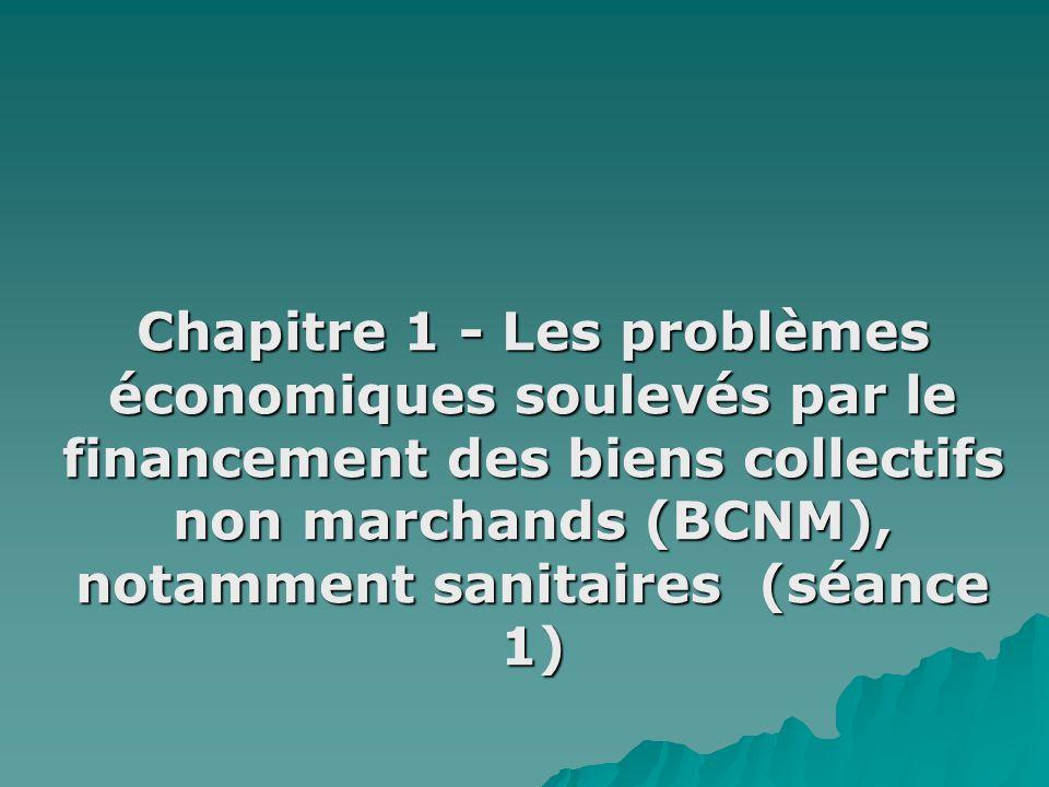 Chapitre 1 - Les problèmes économiques soulevés par le financement des biens collectifs non marchands (BCNM), notamment sanitaires (séance 1)