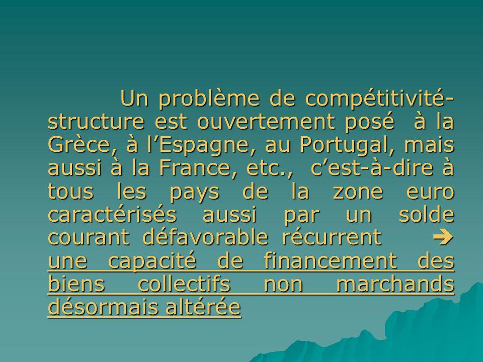 Un problème de compétitivité- structure est ouvertement posé à la Grèce, à lEspagne, au Portugal, mais aussi à la France, etc., cest-à-dire à tous les