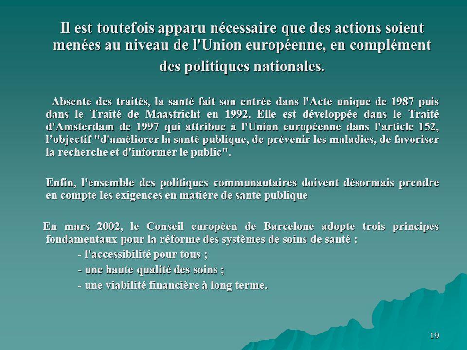 19 Il est toutefois apparu nécessaire que des actions soient menées au niveau de l'Union européenne, en complément des politiques nationales. Absente