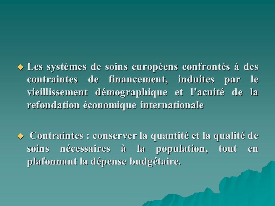 Les systèmes de soins européens confrontés à des contraintes de financement, induites par le vieillissement démographique et lacuité de la refondation