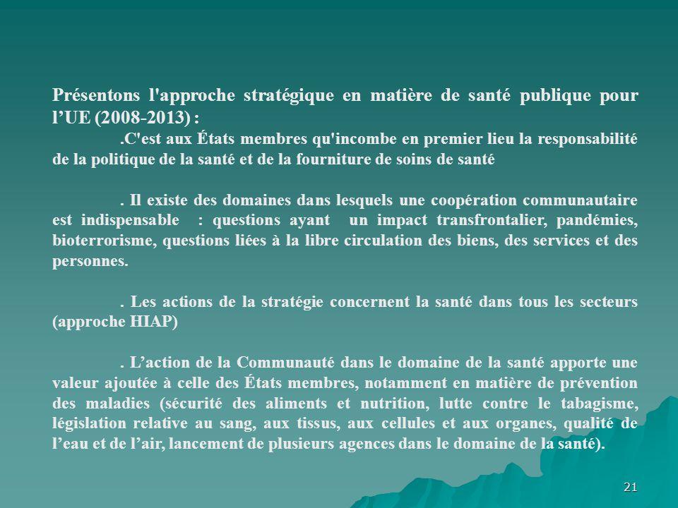 21 Présentons l'approche stratégique en matière de santé publique pour lUE (2008-2013) :.C'est aux États membres qu'incombe en premier lieu la respons
