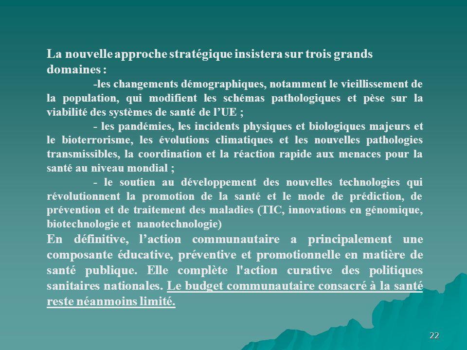 22 La nouvelle approche stratégique insistera sur trois grands domaines : -les changements démographiques, notamment le vieillissement de la populatio