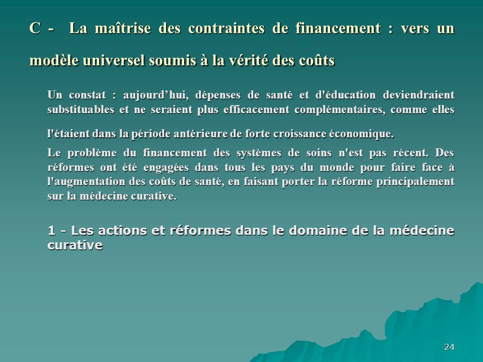 24 C - La maîtrise des contraintes de financement : vers un modèle universel soumis à la vérité des coûts Un constat : aujourdhui, dépenses de santé e