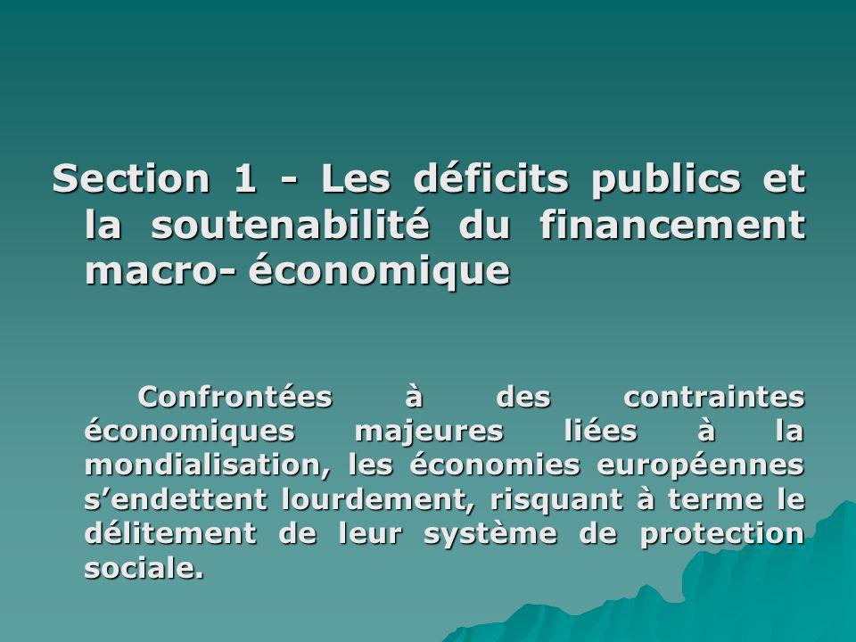 Section 1 - Les déficits publics et la soutenabilité du financement macro- économique Confrontées à des contraintes économiques majeures liées à la mo