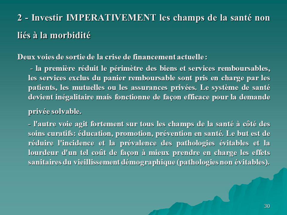 30 2 - Investir IMPERATIVEMENT les champs de la santé non liés à la morbidité Deux voies de sortie de la crise de financement actuelle : - la première