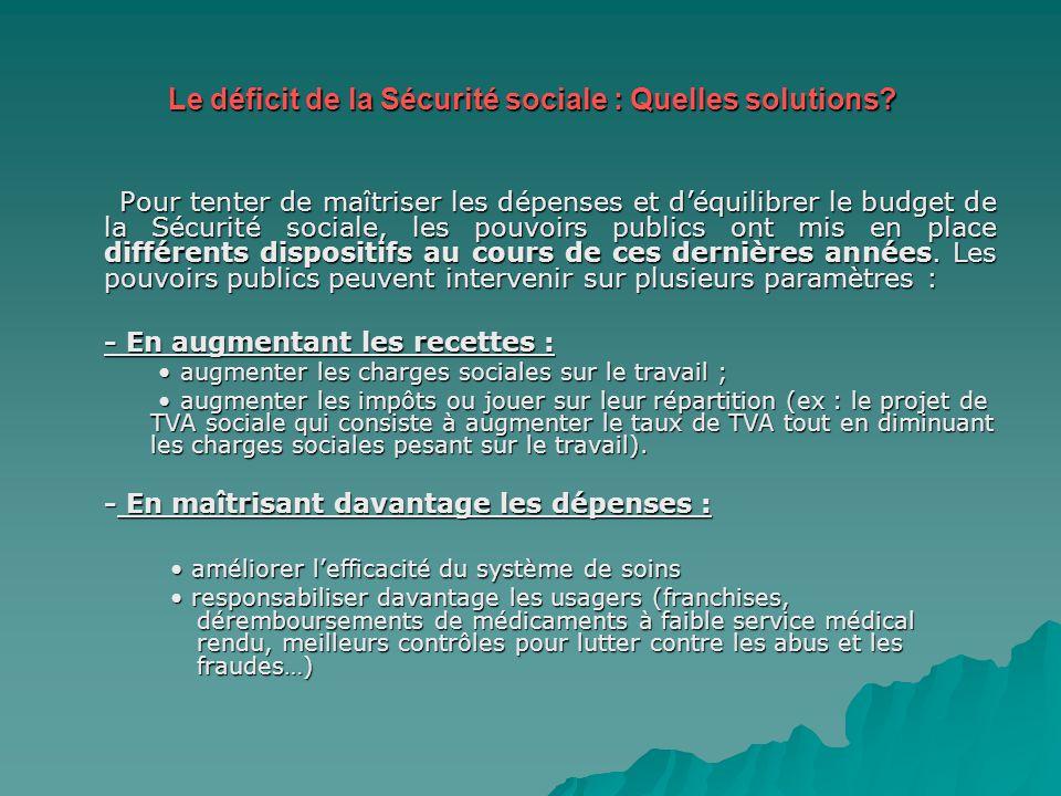 Le déficit de la Sécurité sociale : Quelles solutions? Pour tenter de maîtriser les dépenses et déquilibrer le budget de la Sécurité sociale, les pouv