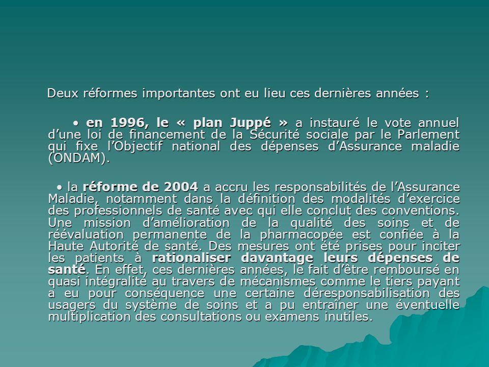 Deux réformes importantes ont eu lieu ces dernières années : Deux réformes importantes ont eu lieu ces dernières années : en 1996, le « plan Juppé » a