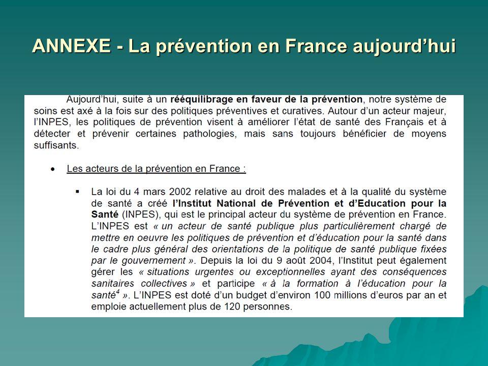 ANNEXE - La prévention en France aujourdhui