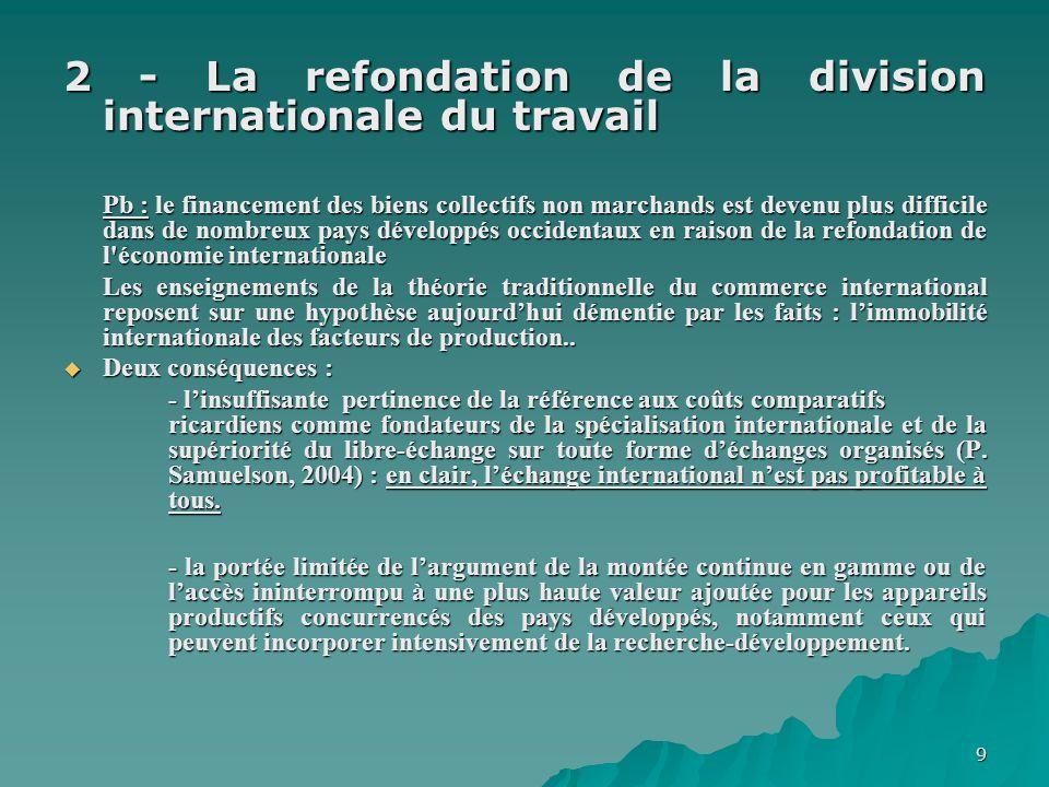 9 2 - La refondation de la division internationale du travail Pb : le financement des biens collectifs non marchands est devenu plus difficile dans de